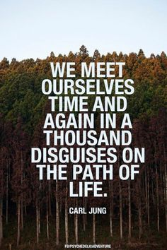 "We meet ourselves time and again in a thousand disguises on the path of life"" -Carl Jung"