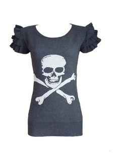 Skull and Crossbones Sweater Ruffle sleeve