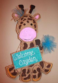 Giraffe burlap Baby Door hanger  giraffe hospital by Cutipiethis, $30.00