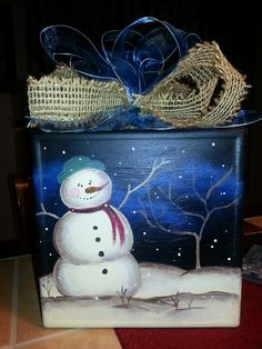 Finished snowman glass block