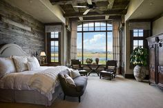 rustic bedrooms, window, dream, the view, master bedrooms, bedroom designs, wood walls, accent walls, barn wood