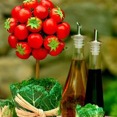 Cherry Tomato Topiary, a perfect Summer Garden Party decoration