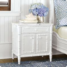 hampstead nightstand, blue, bedsid tabl, faux bamboo, white, bedside tables, bamboo furniture, purple bedrooms, decor idea