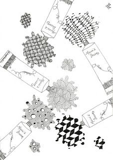 tubes of zentangle patterns...this is so clever!