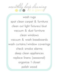Blooming Homestead: monthly deep cleaning