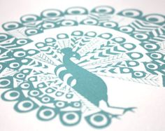 Peacock screen print, teal blue, hand printed, limited edition print, blue peacock