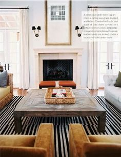 SHELTER: The striped rug...