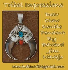 Double Bear Claw Pendant -Navajo made- -turquoise and coral stones- Tribal Impressions -Review the collection off of: http://www.indianvillagemall.com/jewelry/bearclaw.html