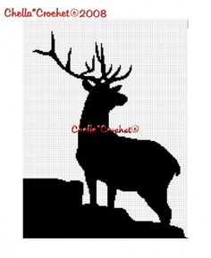Deer Buck Stag Silhouette Crochet Knitting Cross Stitch Afghan Pattern Graph