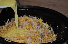 Breakfast casserole in the crock pot!! Cooks while you sleep! Christmas morning!