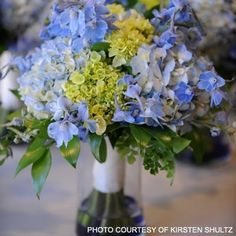 bridesmaids bouquets with blue and green | Blue & Green Bridal Bouquet Share