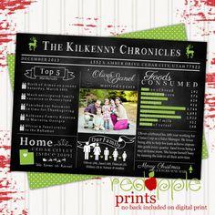 Family News Chalkboard Christmas Card