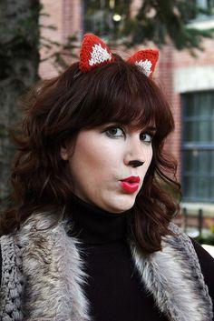 Knitted fox ears - very cute!