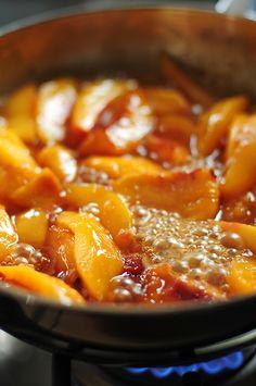 Fried Nectarines with Vanilla Mascarpone (peaches work well too!)