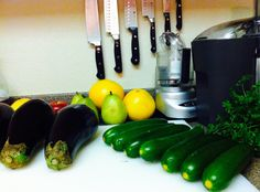 "Laid out my ingredients for my eggplant, squash ""lasagna"" (not including the photo bombing fruit in background)"