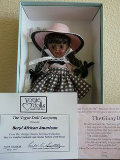 """Limited Edition (100) """"Beryl African American"""" Ginny Doll by Vogue"""