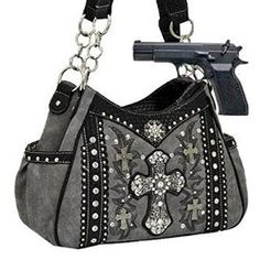 Pewter Western Cross Rhinestone Concealed Carry Handbag In Stock: 69.99
