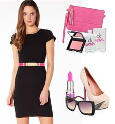 Bright Pink Accessories and a Little Black Dress.  Loving Countessa Flourescent from Lime Crime and this cute pink Sass  Bide Belt from The Iconic.