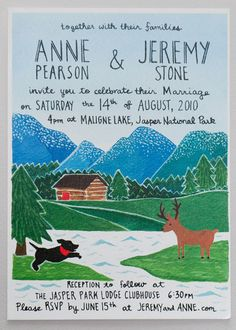 wedding invitation set designed and illustrated in collaboration with Anne Pearson (+ melanie kwan).