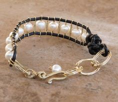 'Gladiator' inspired leather and pearl ladder bracelet with 14k gold filled handwrapped links #leather #pearl #wrapbracelet #bracelet #jewelry #gladiator #fashion #style #trend #etsy