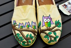 Yellow hand-painted custom Owl TOMS shoes