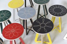 Spirograph etched stools. Fab!
