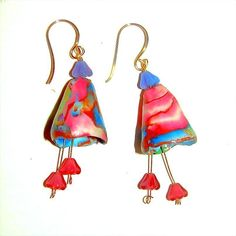 All Solid 18K Gold Wire Floral Polymer Earrings