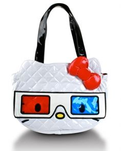 """$65.00    HELLO KITTY 3D GLASSES QUILTED FACE FAUX LEATHER TOTE WITH EMBROIDERED DETAILS. BOW IS 3D AND PADDED. 16.5""""X 14""""."""