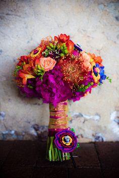 Purple and orange bouquet.