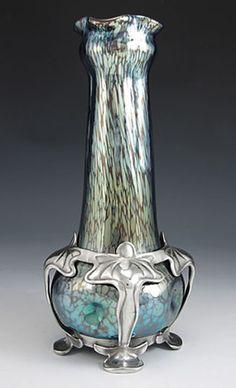 Art Nouveau Iridescent Glass Vase with Juventa Pewter Mount, by Loetz.   ca.1905. Austria.