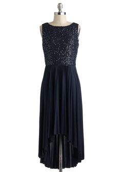 Let Me Allure You Dress in Blue - Mid-length, Blue, Solid, Lace, Pleats, Sequins, Cocktail, A-line, High-Low Hem, Luxe, Formal