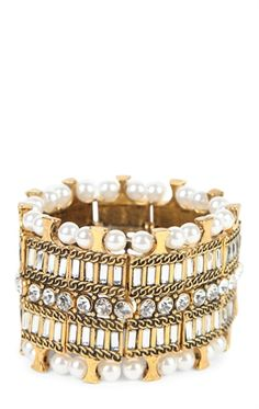 Deb Shops Pearl and Stone Stretch Bracelet $9.00