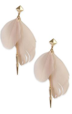 #feather #earrings with chain #spikes  $6.37