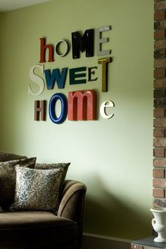 I love this idea, all the mismatched letters, different colors and sizes.