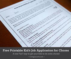 Kid Job Application for Chores