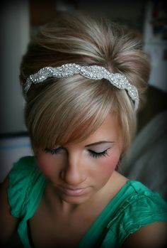 Rhinestone Headband, AMARA, wedding headband, hair accessories, bridal headband, wedding, bridal hair piece. $34.95, via Etsy.