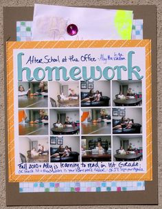 pocket scrapbook pages | Homework (8.5x11 Scrapbook Pocket Page) - Kiss and Tell Scrapbooking
