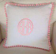 Scalloped Monogram Pom Pom Pillow, $48.00