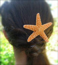 Starfish Hair Barrette-Gifts for Her, Stocking Stuffers, Beach Lover, Starfish, Beach Weddings, Mermaids, Mermaid Costume, Nautical Hair. $14.50, via Etsy.