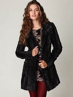 Free People Long and Lean Faux Fur Coat