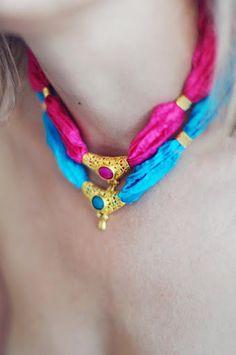 unique statement gemstone fashion necklace bright by YUNILIsmiles, $49.00