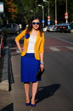 Mustard and cobalt blue outfit   (ha, this is basically what I'm wearing today)