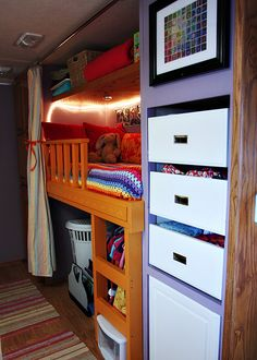 Sarah Janssen's RV closet turned bunk. Huge inspiration and possibility for transforming any RV into living space for 4.