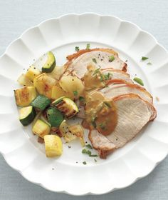 Pork Loin With Mustard Sauce and Sauteed Squash recipe pork recipe, pork loin, sauces, saute squash, eat, sauté squash, yummi, pork dinner, mustard sauc