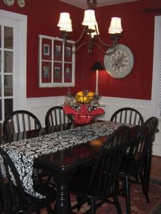 Red Dining Room - I would love to wallpaper the top with the paper that you can paint and then put wainscoting on the bottom?