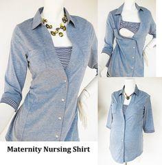ANNA Shirt /  Maternity Clothes / Nursing Top / Breastfeeding Top / NEW Original Design BLUE / Nursing Tops for Breastfeeding