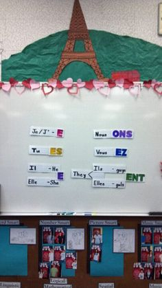 Magnetic subject pronouns and verb endings for French class. Super easy and effective- makes for a fun game, too!
