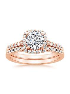 14K Rose Gold Sonora Halo Diamond Matched Set