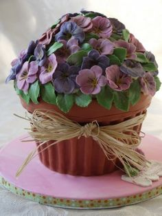 Flower Pot cake, alternate use for giant cupcake pan