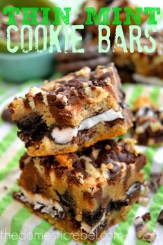 Thin Mint Cookie Bars are for serious mint-lovers only!  These cookie bars boast Thin Mints, peppermint patties AND Andes Mints inside for a truly delightful flavor! #chocolate #mint #cookie #recipe